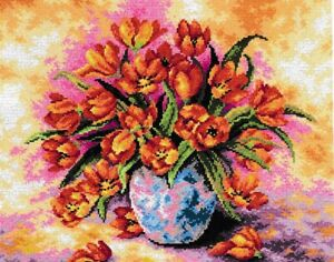"""""""Flowering Tulips"""" Printed Canvas or Threads Kit for  Needlepoint 2237"""