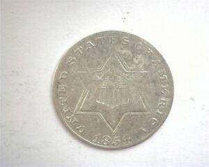 1854 THREE CENT SILVER CHOICE EXTREMELY FINE+