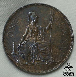 1951 GREAT BRITAIN PENNY BRONZE COIN HIGHER GRADE!