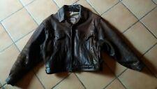 blouson veste marron cuir homme T L un peu style motard sur chemise pull