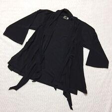 Sympli Kimono Drape Cardigan Waterfall Hem Black Jersey Size 4