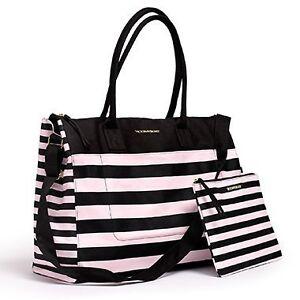 Victoria's Secret PINK Black STRIPED Overnight GETAWAY TOTE Swim BAG Purse 2pc