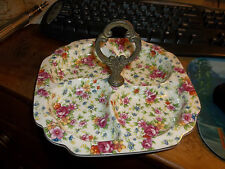 """Beautiful Flowered Divided Dish with Handle MM JAPAN 8 1/2"""""""