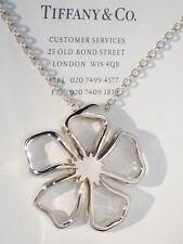 Tiffany & Co Grandes Plata Fina Abierto Colgante de Flor 45.7cm Collar