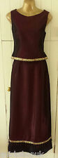 GINA BACCONI designer red TAFFETA & brocade 2 piece top & skirt dress 10 36 NEW