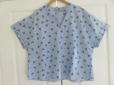 PER UNA MARKS & SPENCER BLUE WHITE MIX STRIPE & LEAF PRINT COTTON TOP SIZE UK 18