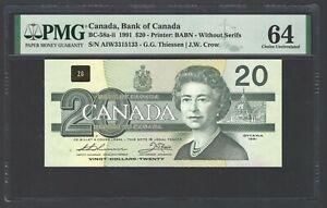 Canada 20 Dollars 1991 BC-58ba-ii Uncirculated Graded 64