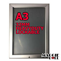 NEW A3 PREMIUM 32mm Lockable Aluminum Snap poster frame Sign holder wall mount