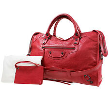 BALENCIAGA The City Shoulder Hand Bag Red Leather Vintage Italy Auth #H824 M