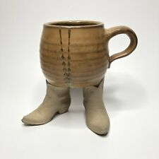 Vintage Stoneware Mug with Cowboy Boots Five Bridges 1981 Funny Office Mug