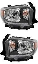 TOYOTA TUNDRA 2018 SR SR5 BLACK HEADLIGHTS HEAD LIGHTS LAMPS W/BULBS PAIR