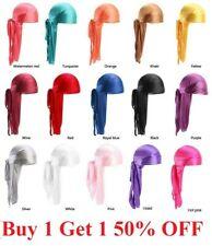 Premium Silky Satin Durag Men's Cap Hat Doo Rag Biker Smooth Head Wrap Us Seller