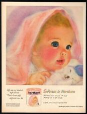 1960 NORTHERN Shell Pink Tissue - Cute  Baby Girl Holding Bunny Art -VINTAGE AD