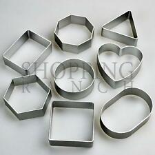 Set of 8 Cute Basic Shapes Cookie Cutters - Square Round Heart Triangle (Metal)