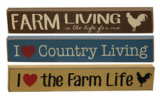 I Love Country Living, the Farm Life, Farm Living Mini Signs, Set of 3