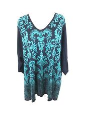 Catherines Womens Sweater Ombre Paisley Floral 3/4 Sleeve Navy Blue Green Sz 3X