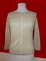 Vintage Go Ro Imports 100% Wool Beaded ZIp Cardigan Sweater sz S Small