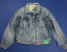 Blue side jacket jeans usato XL denim giacca giacchetta giubbino bomber T4566