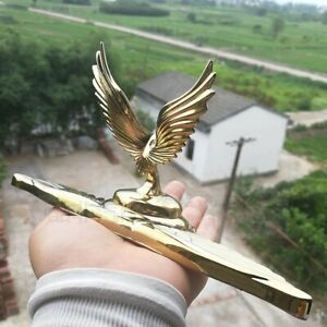 3D Alloy Gold Eagle Hawk Wing Car Truck Front Hood Bonnet Ornament Emblem Badge