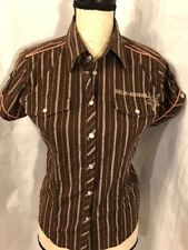 Harley Davidson Women's Embroidered Size S Top Short Sleeve Brown Pink