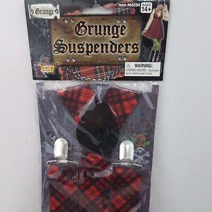 Grunge Tartan Suspenders Braces Scottish 3cm Wide Adjustable Punk Accessory