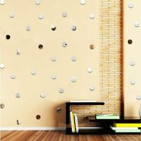 100pcs Removable Dot Mirror Wall Stickers 3D Decal Mosaic Home Room DIY Decor