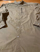 Columbia Omni-shield Mens XL Long Sleeve Button Down Shirt Olive Green Euc