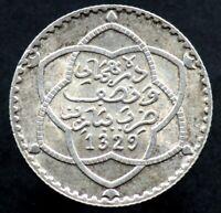 2 1/2 DIRHAMS 1911 MAROC / MOROCCO - argent / Silver (1329) 1/4 rial