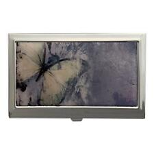 Pale Yellow Butterfly Art ID Case Business Card Holder Metal Wallet Stash Box