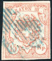 SCHWEIZ 1852, MiNr. 12, zentrisch gestempelt, gepr. Hermann, Mi. 130,-