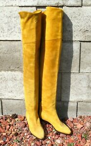"""LEATHER THIGH BOOTS - GOLD SUEDE -27"""" high"""