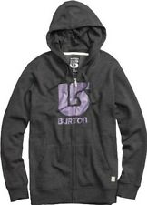 Burton Logo Vertical Fullzip Hoody (L) Heather True Black
