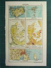 1921 MAP ~ DENMARK ~ POPULATION FAROE ICELAND COPENHAGEN ENVIRONS
