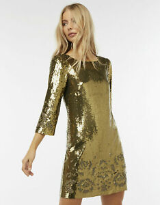 Monsoon Limited Edition Beaded Gold Sheryl Sequin Tunic Party Dress UK 8