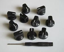 10x Guitar AMP Effect Pedal Knobs Davies 1510 Style Pointer Knob Set Screw Black