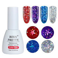 BORN PRETTY 10ml Holographic Star Moon Glitter UV Gel Nails Soak Off Gel Polish