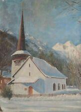 Tableau / Peinture signée A. DEFLANDRE . Eglise sous la Neige