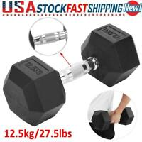 Hex 27.5 lb Pound Dumbbell Hand Weight Home Gym Workout Fitness (Single)