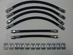 6 Bremsschläuche + 12 Klammern für BMW 02/E10, 1602-2002 Turbo