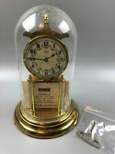"Kundo Brass 400 Day Anniversary Clock Germany Glass Dome 11-1/2"" tall"