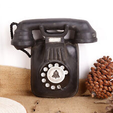Vintage Corded Telephone Model Wall Mount Statue Rotary Old Phone Figurine Black