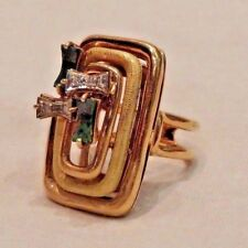 Modernist 14K Yellow Gold Abstract Ring with Diamonds and Malachites Size 6