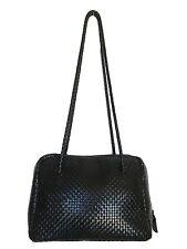 Talbots Black Woven Leather Shoulder Purse Dual Straps Zip Closure - Size Medium