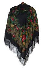 """Russian Woolen Scarf (35x35"""") #77918 (silk fringe)"""