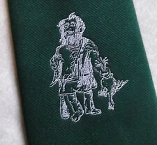 FATHER CHRISTMAS & TURKEY TIE VINTAGE RETRO DARK GREEN 1970s 1980s FESTIVE