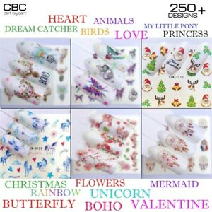 Nail Art Water Decals Sticker LOVE HEART UNICORN FLOWERS BUTTERFLY FLAMINGO BOHO