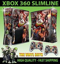 XBOX 360 SLIM STREET FIGHTER MASH UP RYU KEN STICKER SKIN COVER & 2 PAD SKINS