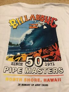 NWT BILLABONG PIPE MASTERS 2021 IN MEMORY OF ANDY IRONS 50th ANNIVERSARY L LS T