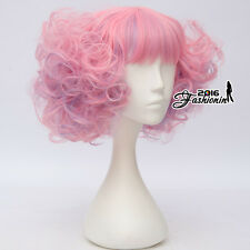 Lolita Pink Mixed Blue Short 30CM Curly Fashion Women Cosplay Wig + Wig Cap