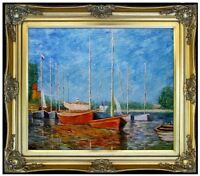 Framed, Claude Monet The Red Boats Repro, Hand Painted Oil Painting 20x24in